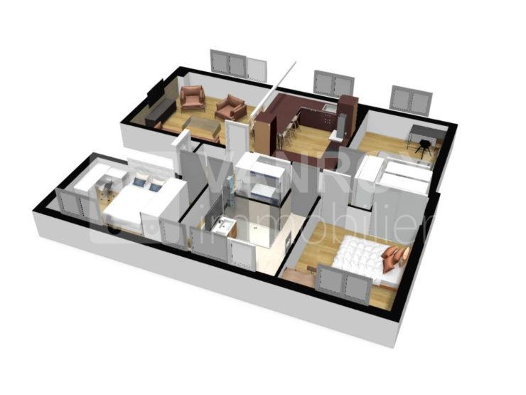 Bordeaux - Saint-Augustin - Spacieux T4 de 94 m² en dernier étage - Plan 3D
